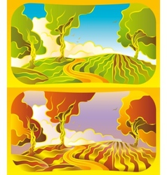 Autumn and summer landscape vector