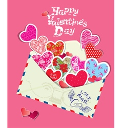 Ornament hearts envelope 380 vector