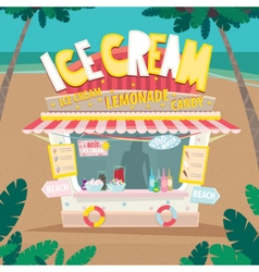 Stall selling ice creams by the sea vector