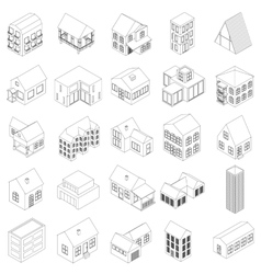 House icons set isometric 3d style vector