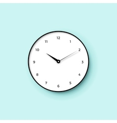 Icon of white clock face with shadow on mint wall vector