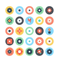Flowers Colored Icons 2 vector image