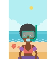 Woman with snorkeling equipment on the beach vector