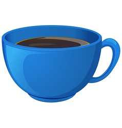 A blue cup with coffee vector