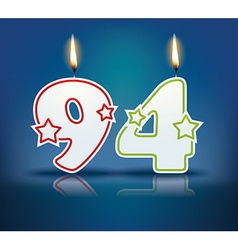 Birthday candle number 94 vector image