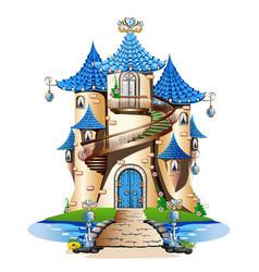 blue fairytale castle vector image vector image