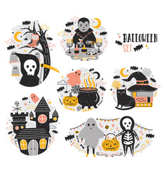 bundle of halloween scenes with funny and spooky vector image
