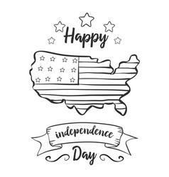 Card of independence day hand draw vector