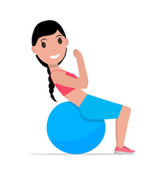 cartoon girl doing exercises fitness ball vector image