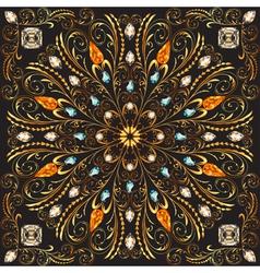 Circular gold floral patterns vector