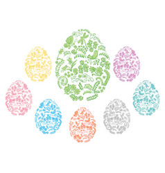 Color and floral ornamental easter eggs vector