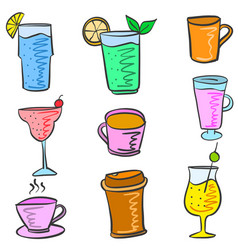 Colorful various drink set doodles vector