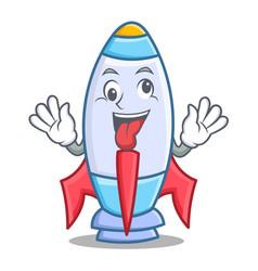 crazy cute rocket character cartoon vector image