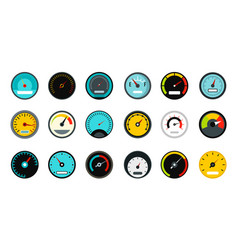 Dash board icon set flat style vector