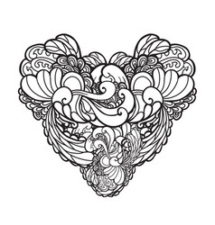 Decorated hand drawn heart vector