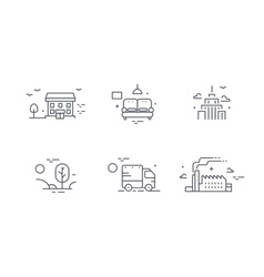 Different buildings icon set for real estate vector