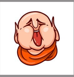 Fat buddha face with stuck out tongue vector