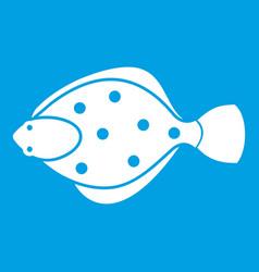 Flounder fish icon white vector