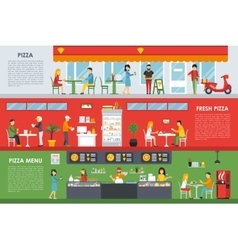 Fresh pizza menu flat concept web vector