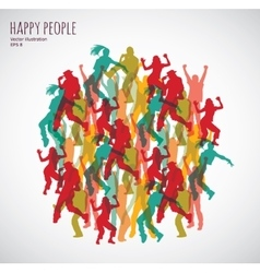 Group happy color dancing people vector
