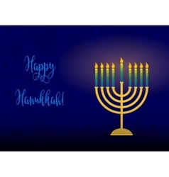 Hanukkah menorah with congratulation card for vector
