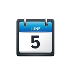 June 5 calendar icon flat vector