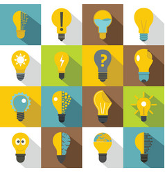 Lamp logo icons set yellow flat style vector