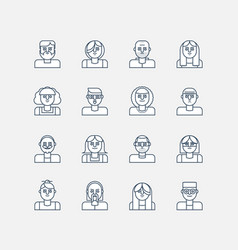 male and female line icons vector image