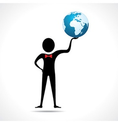 Man holding a globe vector image