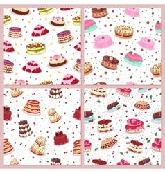 Seamless patterns set with cakes confectionery vector