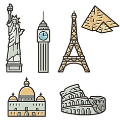 Set of 7 travel vector image