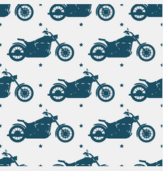 Sport motorbike silhouette and seamless pattern - vector