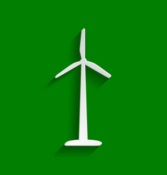 Wind turbine logo or sign paper whitish vector