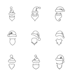 Wizard Santa Claus icons set outline style vector image vector image