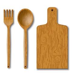 wood utensils vector image vector image