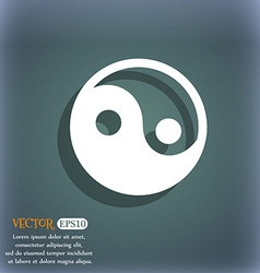 Ying yang icon symbol on the blue-green abstract vector