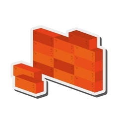 Brick wall construction icon vector