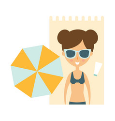 woman laying on blanket on sand under umbrella vector image