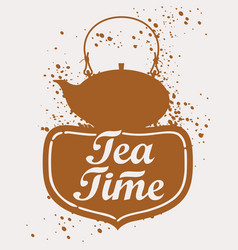 Teapot with lettering vector