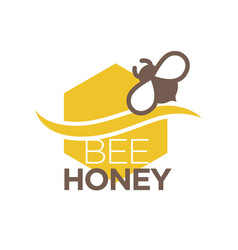 Bee honey logo design with insect isolated vector