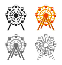 Ferris wheel icon cartoon single building icon vector