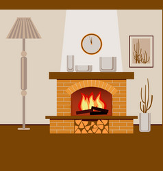 Classic brick fireplace vector