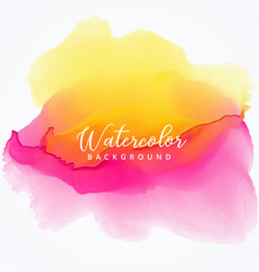 Yellow and pink bright watercolor stain background vector
