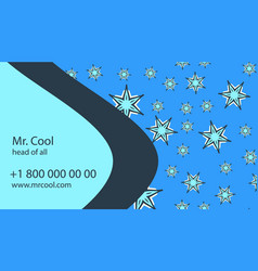 Blue business card with stars and bended vector