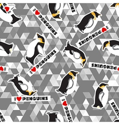 penguin and a triangular design vector image