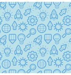 seamless pattern with icons and signs in outline s vector image