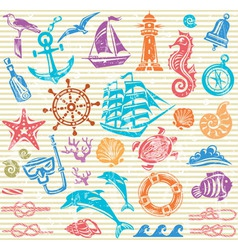 Nautical and sea set vector