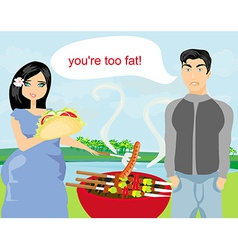 Husband gets upset wife eats unhealthy food vector