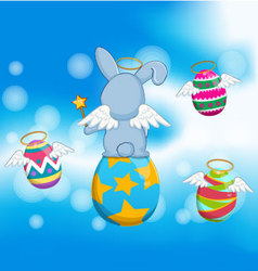 Happy easter eggs on with blue sky vector