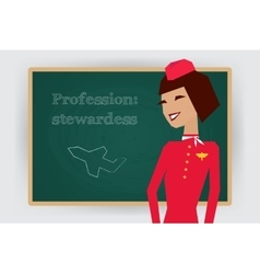 Occupation stewardess profession vector